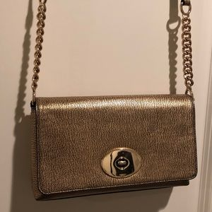 Authentic COACH metallic gold leather crossbody